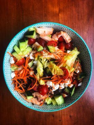 Salade feta en kippenreepjes
